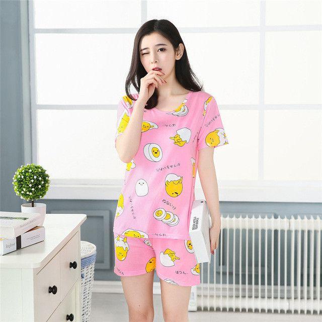Fashion 2017 WAVMIT Women Pajamas Set Thin Cartoon Summer Girlfriend Gift Indoor Cloth Home Suit Sleepwear Short Sleeve Pyjamas
