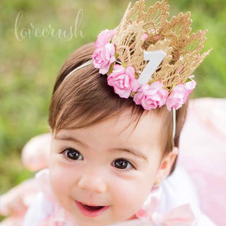 Pale Pink Birthday Crown headband for baby Birthday party Baby Girl gold Crown headband for hair Accessories 1PC