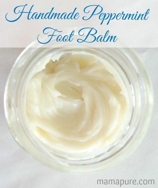 DIY Handmade Peppermint Foot Balm with Shea Butter, Coconut Oil, Peppermint & Tea Tree Essential Oils