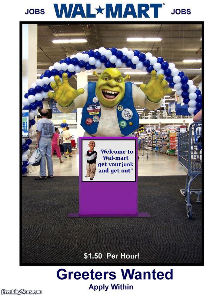 Shrek the Walmart Greeter