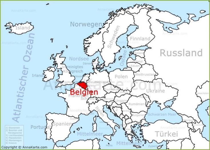 Belgien auf der Karte Europas