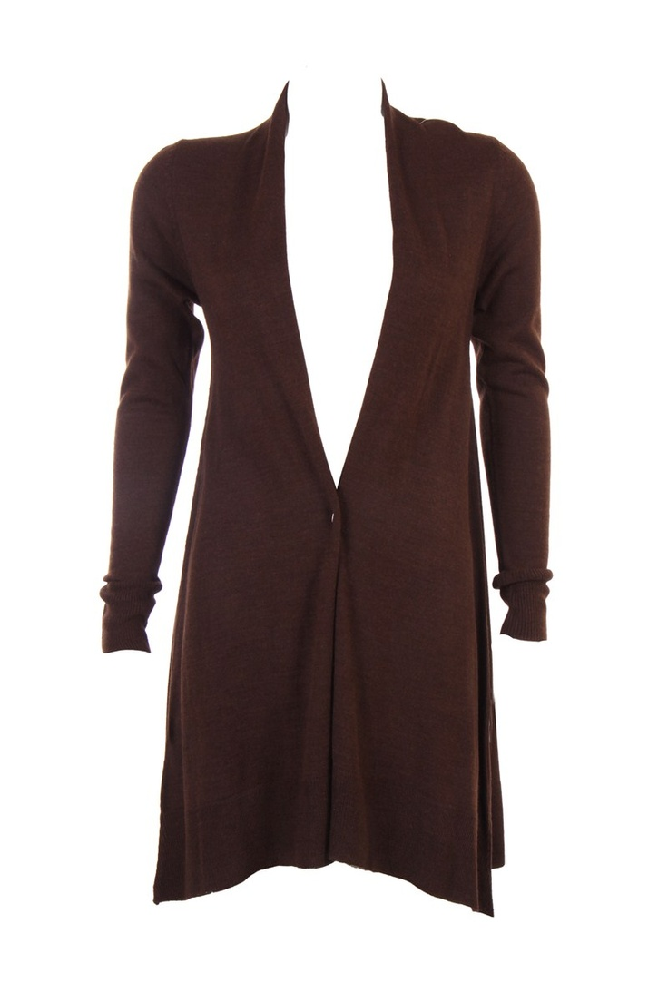 """""""Brown Assymmetric Hem Cardigan With Pintuck Detail At Back; Acrylic Viscose; 32.5"""""""" In Length"""" Outer Wear #Clothing #Fashion #Style #Wear #Colors #Apparel #SemiFormal #Casuals #W for #Woman"""