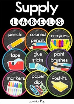 Back to School Classroom Decor: Supply Labels. Chalkboard or white background options included.
