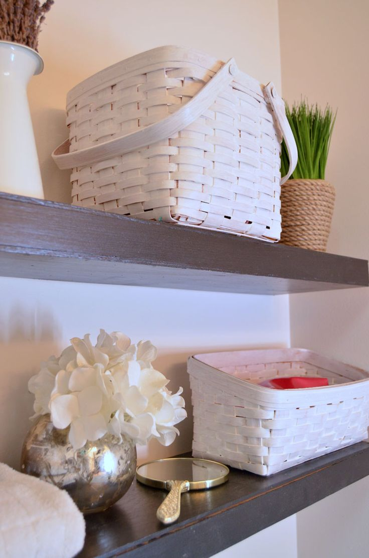 White stained Longaberger Baskets with DecoArt Color Stain White