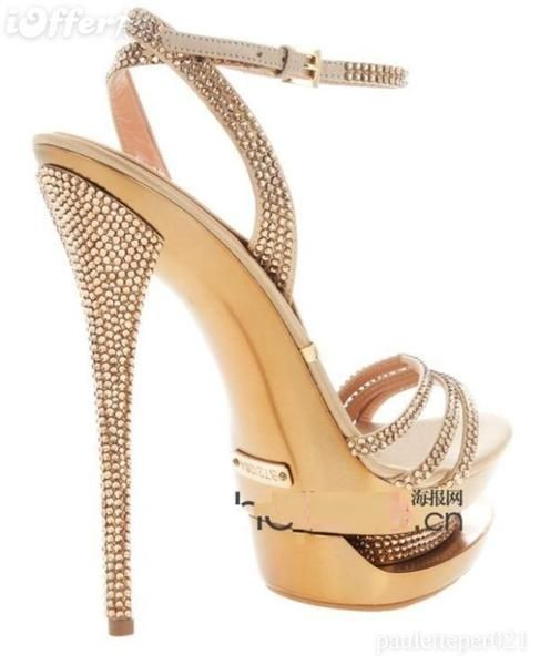 Gianmarco Lorenzi gold crystal high heel sandal, oh my gosh <3