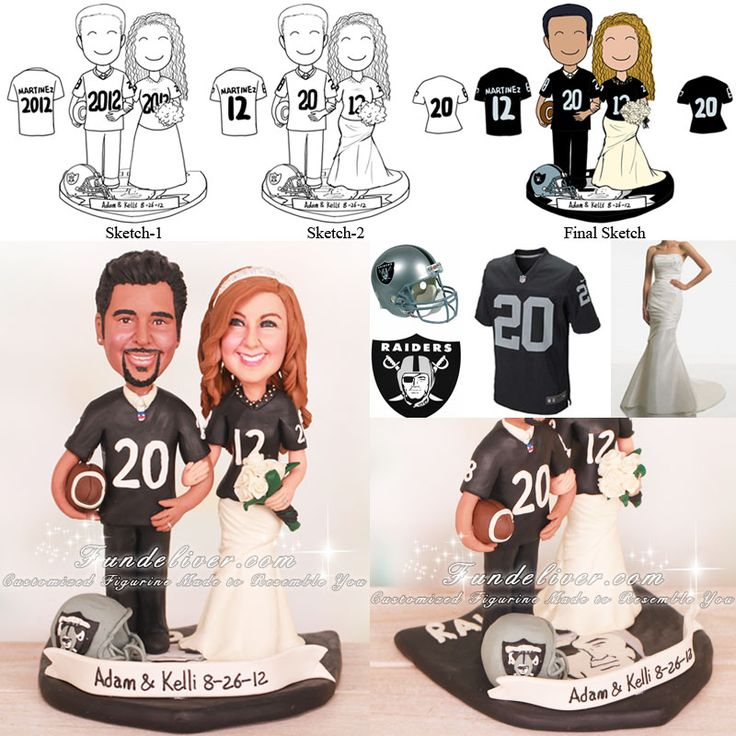 Oakland Raiders Football Wedding Cake Toppers