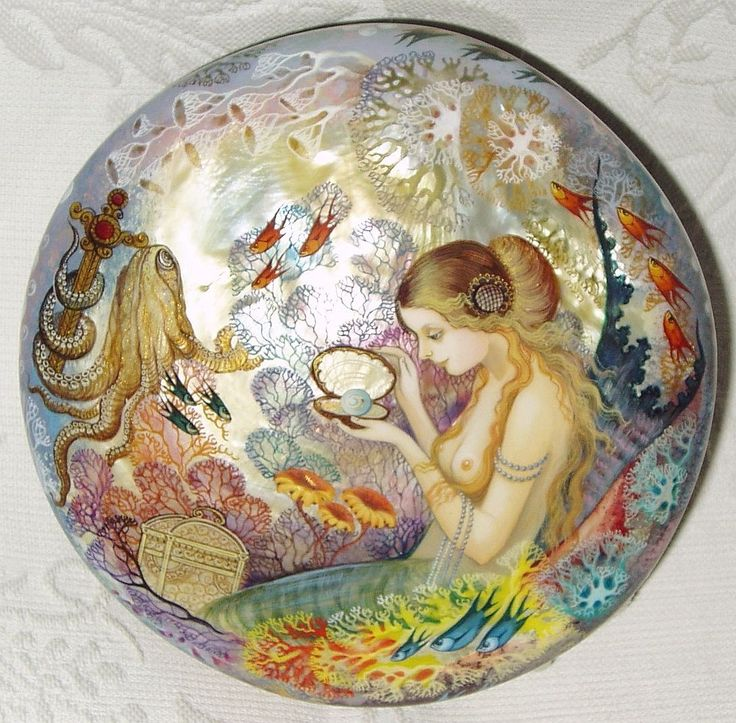 Gorgeous Russian Lacquer Box Shell Kholui Mermaid with Pearl Hand Painted | eBay
