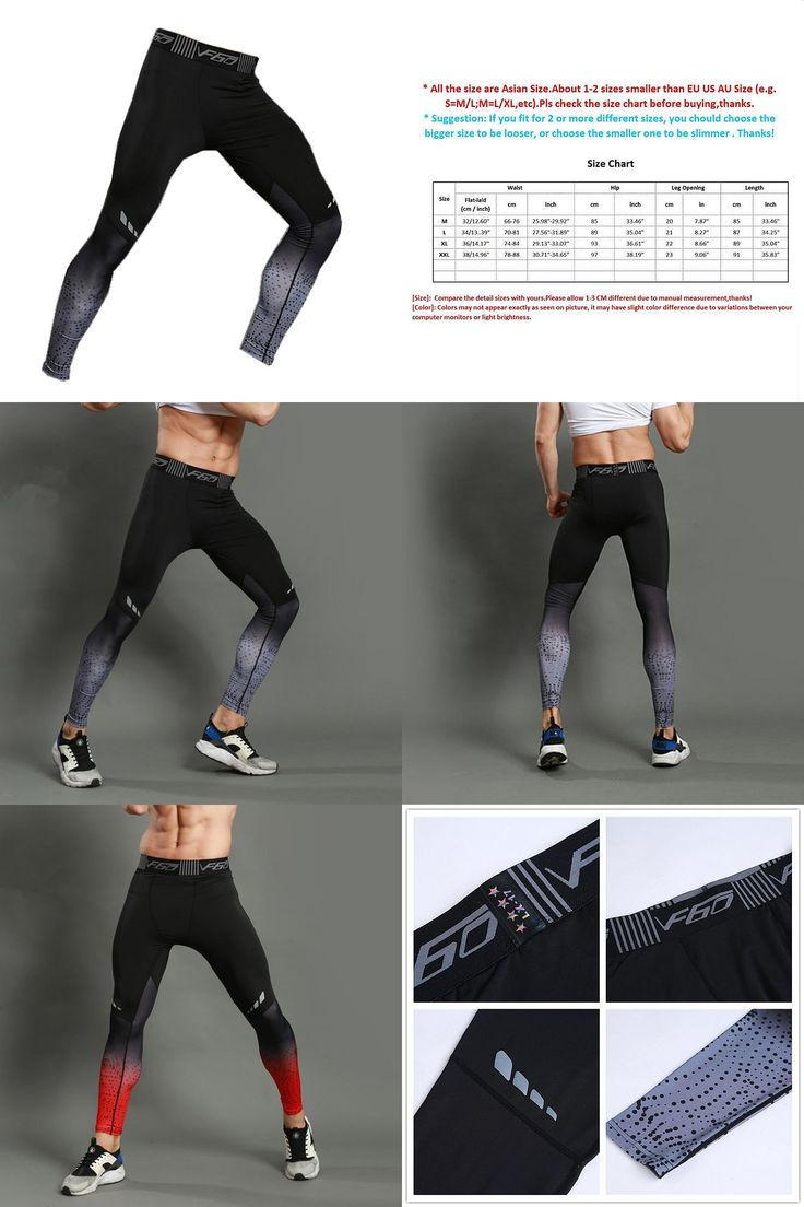 [Visit to Buy] Gradient Color Men  Running Tights Professional Male Running And Gym Compression Pants Active Quick Dry Workout Sports Tights #Advertisement