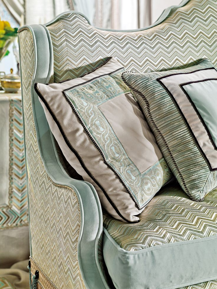 Embroidered upholstery and cushions from Provasi - The beautiful Italian furniture designs of Provasi, combining traditional and contemporary style to produce iconic works or art. Showcasing at Salon del Mobile, Milan