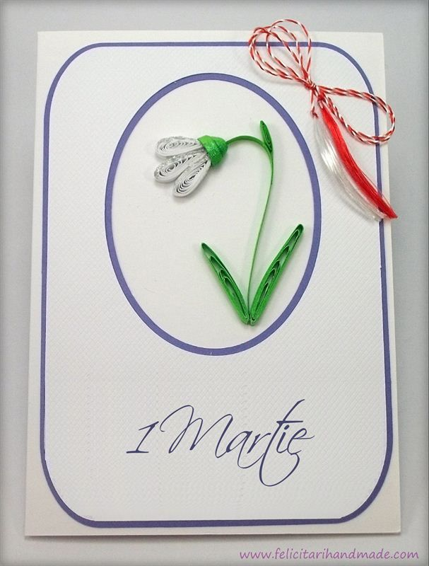 Felicitare simpla si eleganta business cu ghiocel quilling de 1 Martie / A clean business card with a quilling snowdrop for March 1st (Romanian beginning of spring celebration)