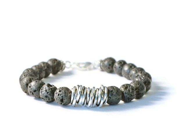 Lava Rock and Antique Silver Aromatherapy Bracelet, Essential Oil Diffuser Jewelry