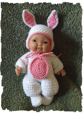 Ravelry: Bunny Costume for 5 inch Berenguer Baby Doll pattern by Amy Carrico
