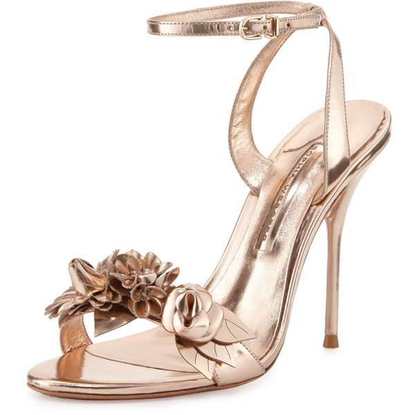 Sophia Webster Lilico Floral Leather Sandal ($620) ❤ liked on Polyvore featuring shoes, sandals, heels, rose gold, leather sandals, strappy high heel sandals, strappy sandals, ankle strap sandals and leather strap sandals