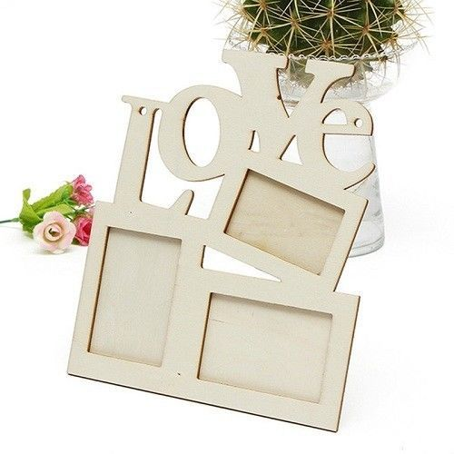New 7 Inches Wooden Love Photo Frame White Base Home Decor Wedding Baby Gift