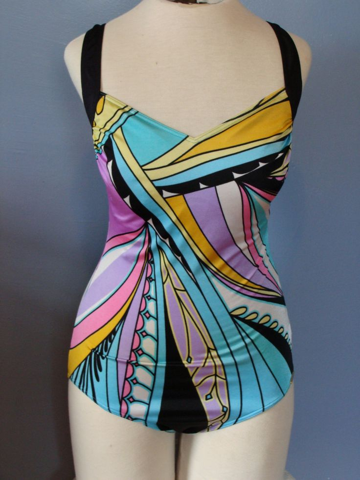 Vintage Bathing Suit One Piece Swimsuit Psychedelic Colorful