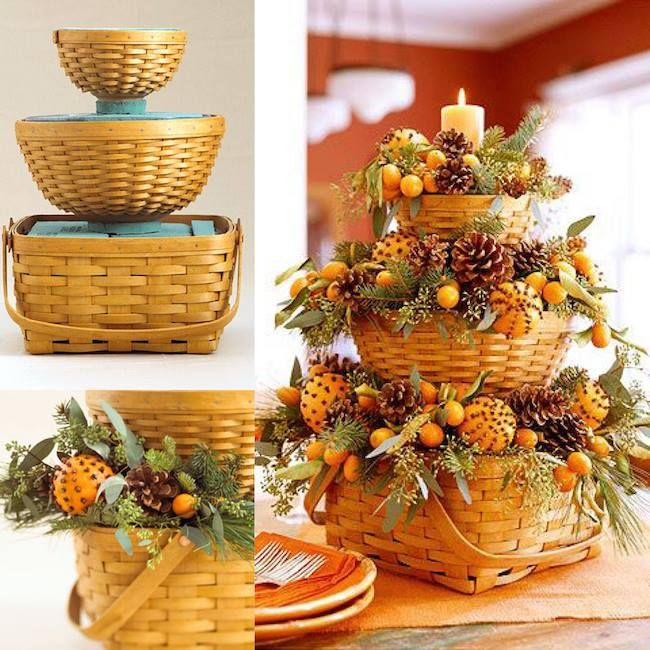 Festive Baskets with Pinecones and Pine are Great Fall Centerpieces
