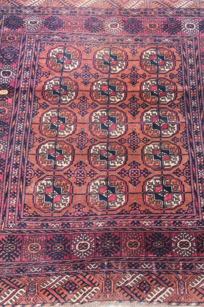 No 0085 Antique Turkoman Bokhara Wool Purple Red Rug 4 2 X 3 5