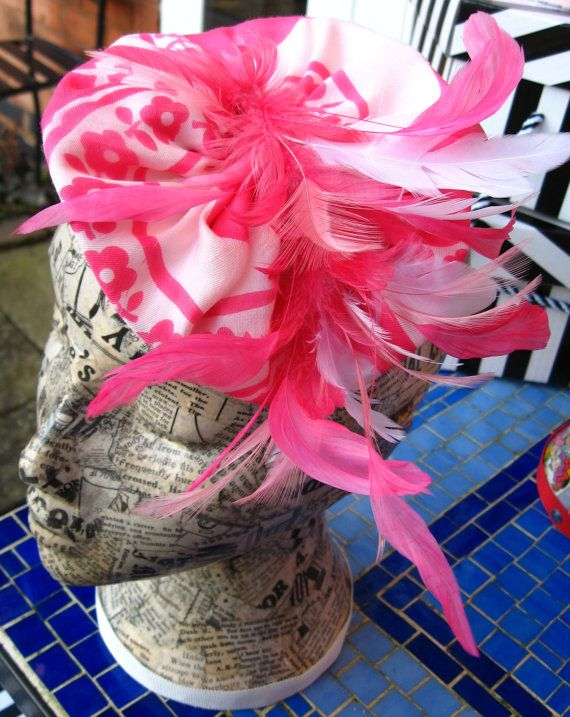 Pink and White Upcycled Satin Scarf and Feather by RedHotandBlue, £40.00