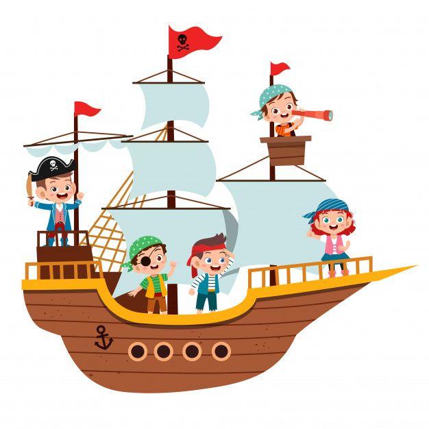 Grupo De Piratas Dos Desenhos Animados Em Um Navio No Mar Christmas Drawing Sea Nursery Art Cartoon Pirate Ship