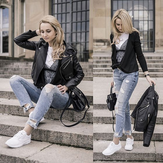 Get this look: http://lb.nu/look/8654779  More looks by Adriana M.: http://lb.nu/lilicons  Items in this look:  Zara Blue Jeans, Zara White Tee With Lace Top, Vans White Sneakers, Zara Black Leather Jacket   #casual #minimal #street #streetstyle #lookbook #lookbooker #today #outfit #blogger