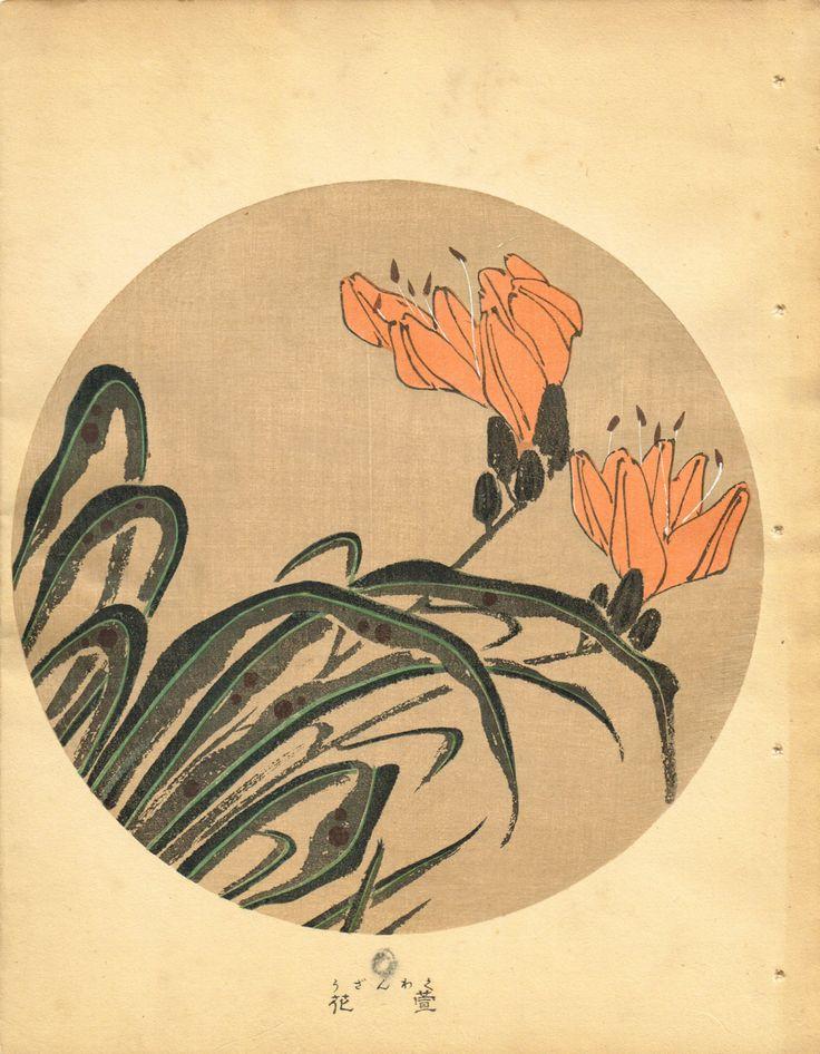 """Japanese antique woodblock print Ito Jakuchu """"Hemerocallis from Jakuchu gafu"""""""