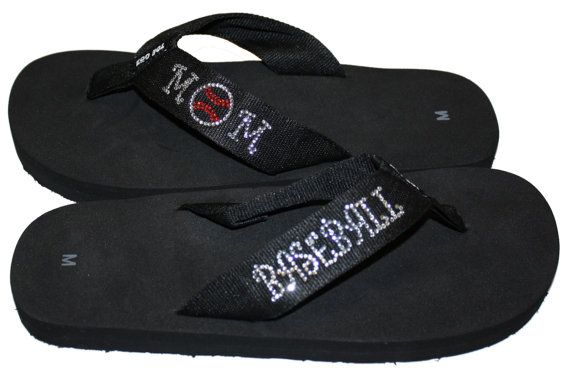 Hey, I found this really awesome Etsy listing at http://www.etsy.com/listing/166459716/baseball-mom-bling-flip-flops