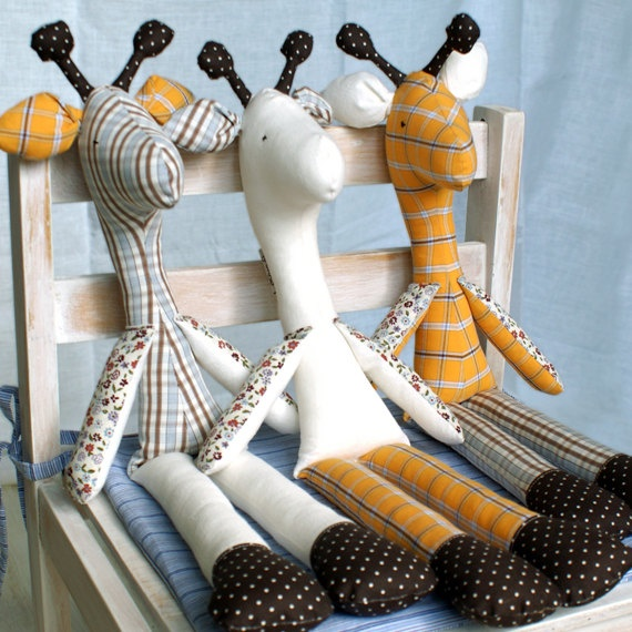 soft toy stuffed toy cotton toy GIRAFFE handmade by toemoe on Etsy