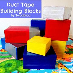 diaper box blocks - I like the additional information they provide... the duct tape adds to the boxes being more stable. Little one can even climb on these! I think my LO will love it. We needed something new to do around the house.