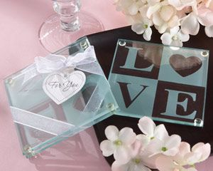 Clearly in Love LOVE Glass Coasters (Set of 2)
