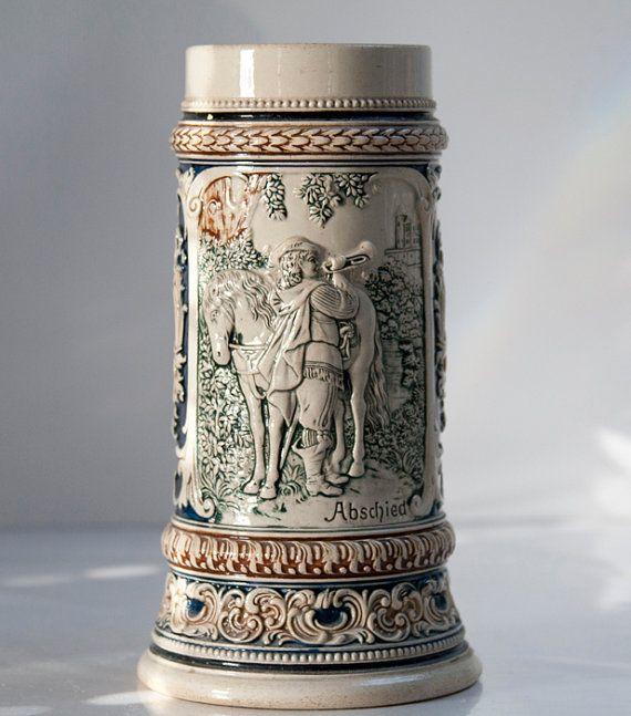 """RESERVED For Tracey: Antique """"The Trumpeter of von Säckingen"""" German Beer Stein"""