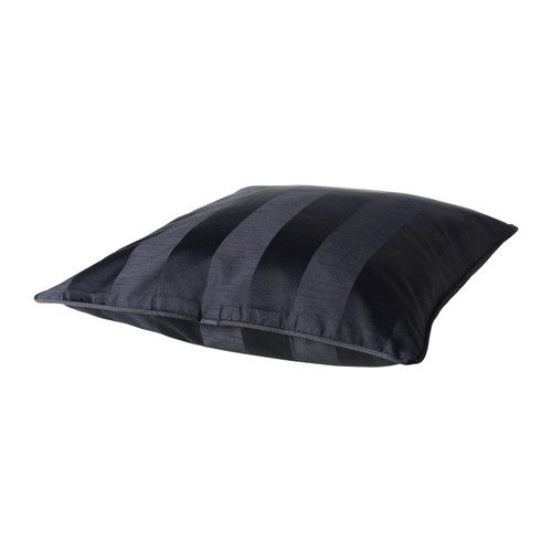 Black Pillow - HENRIKA Cushion cover IKEA Striped pattern in fabric adds life and character. Zippered cover is easy to remove for washing.
