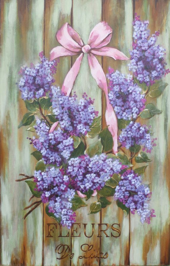 Beautiful French country cottage lilac sign painting original on lightweight blond wood signed sealed comes with hanger on the back measures 16 x 24 lilac flower painting, purple flower painting, country cottage chic décor, French accent, country décor, French country, lilac wall art