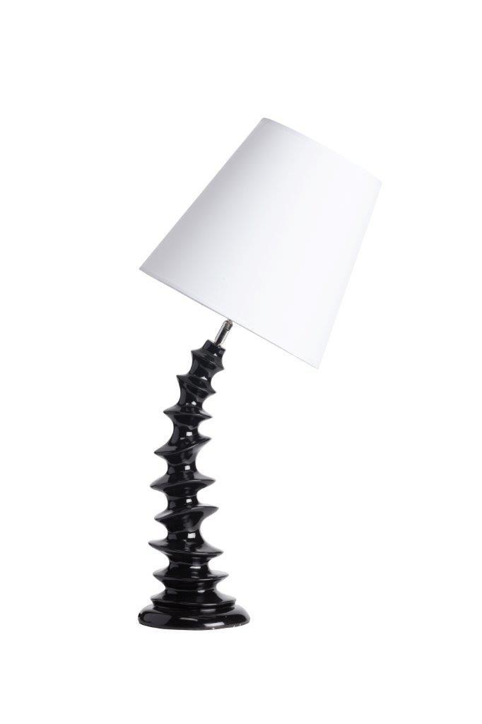 Необычная настольная лампа Ostersund с креативным и неповторимым дизайном непременно придется по вкусу любителям уникальных вещей и предметов декора. Удачное сочетание белого абажура простой формы и черной изогнутой ножки дают в совокупности роскошный аксессуар, который украсит собой любую комнату вашего дома, будь то просторная гостиная, уютная спальня, кабинет или детская.             Материал: Металл, Ткань, Пластик.              Бренд: DG Home.              Стили: Арт-деко…