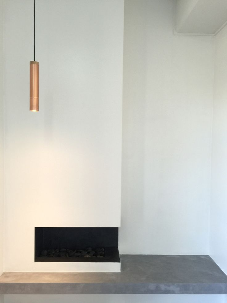 Floating polished concrete look fire place. Created by CimentArt Australia