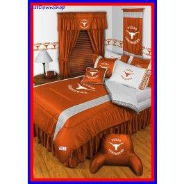 Texas Ut Longhorns Ncaa 5pc Sidelines Full Comforter Sheets Bed Room Set