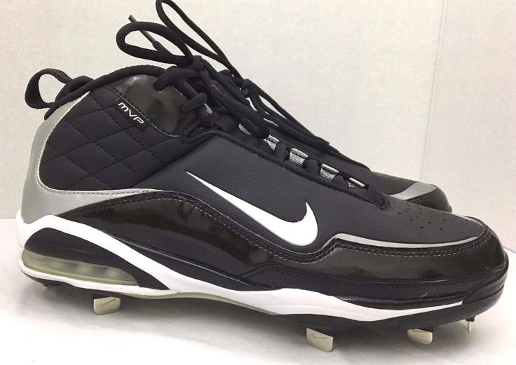 """This pair of Nike Maxair MVP cleats is black with nine (9) metal. 25"""" cleats on each shoe. The shoes are mainly black with silver and white accents. Nike Maxair MVP Metal Cleats. Synthetic w/metal cleats. 