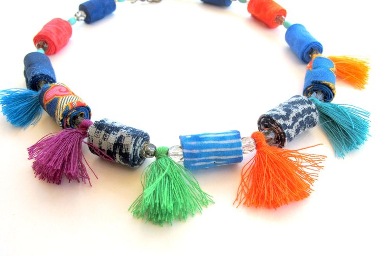 Colorful beads and tassels fabric necklace, artisan tassel fabric necklace, winter blue tassel fiber necklace, fabric necklace by Gilgulim on Etsy