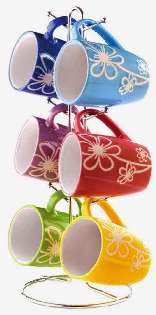 Colorful stack mugs