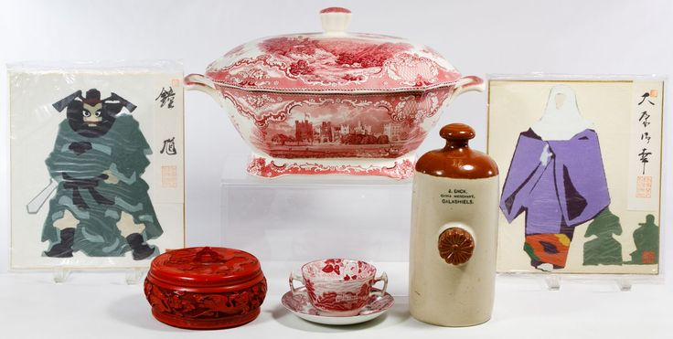 "Lot 142: Ceramic Transferware and Asian Decorative Assortment; Including a Johnson Bros. ""Old Britain Castle"" soup tureen, a Woodsware bullion cup with saucer, a J. Dick Galashiels earthenware pig warmer, two Asian wood cut prints and a resin carved bowl"