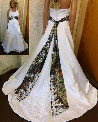 Fashion Halter Camo Wedding Dress Camouflage Sash Lace Up Bridal Gowns Custom