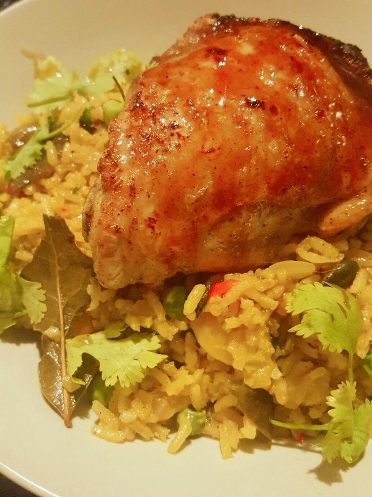 [Homemade] pilaf rice with Oven-Teriyaki chicken thigh
