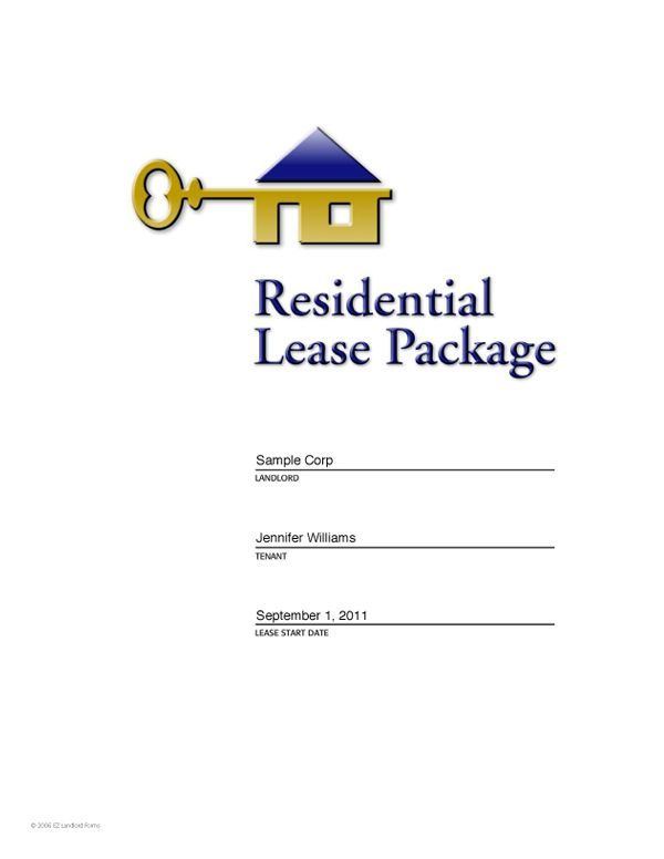 Sample Rental Lease Agreement EZ Landlord Forms   - Residential Rental Agreement