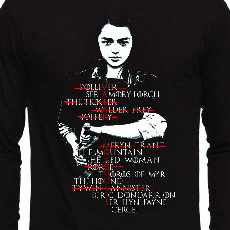 Arya Stark List-Valar Morghulis Full Sleeve Game of Thrones T-Shirt