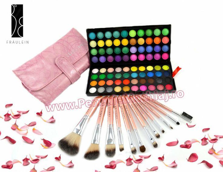 Trusa Farduri 80 culori mate sidefate + 12 pensule machiaj Pink Premium Fraulein38