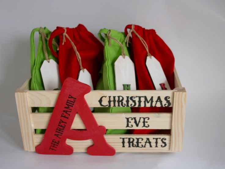 Christmas Eve treat boxes are a great way to start the festivities, and with our Crate and Sack sets everyone in the family can join in the fun. The crate is natural wood adorned with a hand painted letter (for example your family initial) and personalised with your choice of wording on both the letter and […]