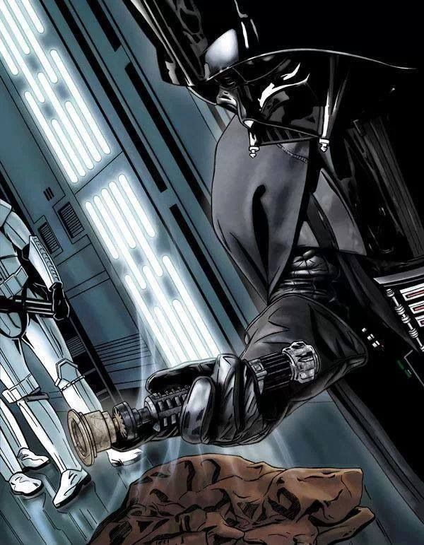 Star Wars Art - Darth Vader holding Obi-Wan Kenobi's lightsaber after their encounter in Episode IV: A New Hope
