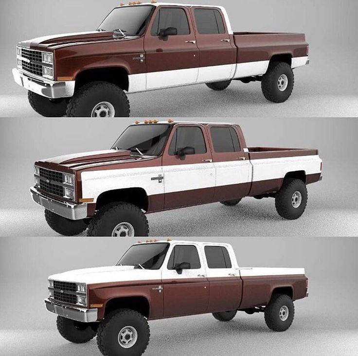 If you had to pick one color scheme, which would it be? #chevy #chevrolet #chevyrunsdeep #chevytruck #chevylife #chevytruck #chevylife #rendering #render #crewcab #longbed #lwb #1980s #dualheadlights #dually #lifted #liftedsquarebodytrucks #squarebody_life