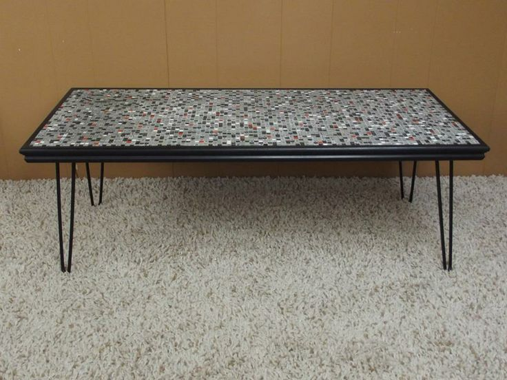 Mosaic tile hairpin leg coffee table tables pinterest for Mosaic coffee table designs