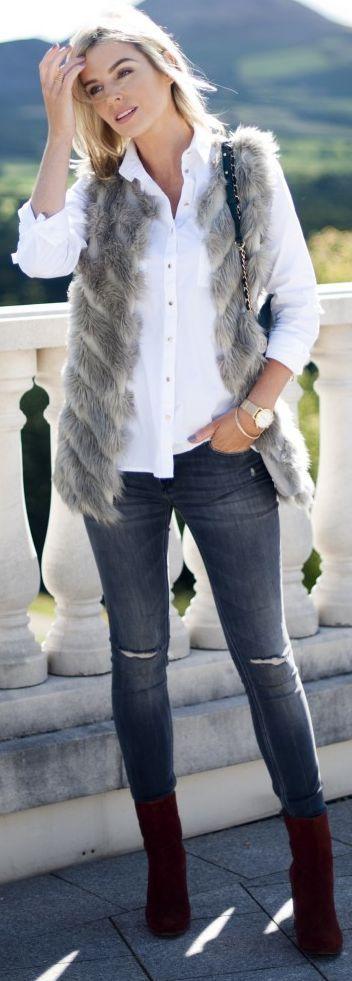 Pippa Faux Fur On White Shirt Fall Inspo