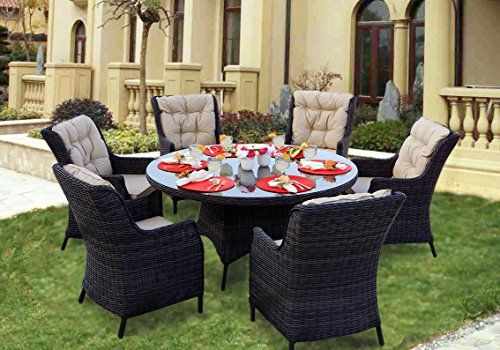 Darlee 7 Piece Valencia Wicker Round Dining Set with Cushions, 60'' - Relaxing Dining - Indoor and Outdoor Relaxation